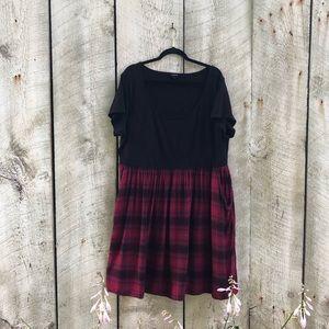 Torrid   black and red plaid midi dress